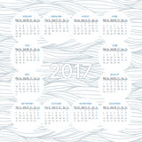 Calendar for 2017. Vector calendar for 2017 year on background of wavy lines monochrome pattern. Week starts on monday Royalty Free Stock Photos