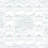 Calendar for 2017. Vector calendar for 2017 year on background of wavy lines monochrome pattern. Week starts on sunday Royalty Free Stock Image
