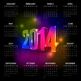 2014 calendar. Vector 2014 year calendar with black background and vibrant neon numbers. Elements are layered separately in vector file Stock Illustration