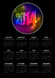 2014 calendar. Vector 2014 year calendar with black background and vibrant neon numbers. Elements are layered separately in vector file Royalty Free Illustration