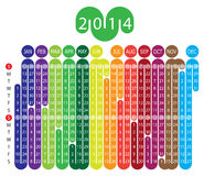Calendar 2014. Vector Calendar for 2014 year with graphic elements Stock Illustration