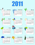 Calendar_vertical 2011  - seasons. Every month a calendar has a symbol of a season Royalty Free Stock Photos