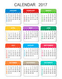 2017 Calendar in vertical style. Illustration Vector template of color 2017 calendar on white background Stock Photography