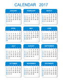 2017 Calendar in vertical style. Illustration Vector template of color 2017 calendar on white background vector illustration