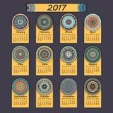 Calendar 2017. Vintage decorative colorful elements. Ornamental floral oriental pattern,  illustration. Islam, Arabic, Indian, turkish, pakistan chinese Stock Image