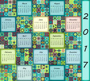 Calendar 2017. Vintage decorative colorful elements. Ornamental floral oriental pattern,  illustration. Islam, Arabic, Indian, turkish, pakistan chinese Royalty Free Stock Images