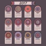 Calendar 2017. Vintage decorative colorful elements. Ornamental floral oriental pattern,  illustration. Islam, Arabic, Indian, turkish, pakistan chinese Royalty Free Stock Photos