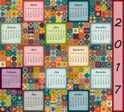 Calendar 2017. Vintage decorative colorful elements. Ornamental floral oriental pattern,  illustration. Islam, Arabic, Indian, turkish, pakistan chinese Stock Photos