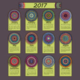 Calendar 2017. Vintage decorative colorful elements. Ornamental floral oriental pattern,  illustration. Islam, Arabic, Indian, turkish, pakistan chinese Stock Photo