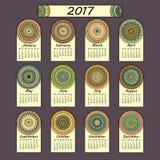 Calendar 2017. Vintage decorative colorful elements. Ornamental floral oriental pattern,  illustration. Islam, Arabic, Indian, turkish, pakistan chinese Royalty Free Stock Image