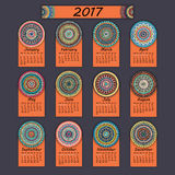 Calendar 2017. Vintage decorative colorful elements. Ornamental floral oriental pattern,  illustration. Islam, Arabic, Indian, turkish, pakistan chinese Royalty Free Stock Image