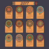 Calendar 2017. Vintage decorative colorful elements. Ornamental floral oriental pattern,  illustration. Islam, Arabic, Indian, turkish, pakistan chinese Royalty Free Stock Photos