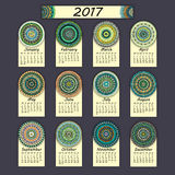 Calendar 2017. Vintage decorative colorful elements. Ornamental floral oriental pattern,  illustration. Islam, Arabic, Indian, turkish, pakistan chinese Royalty Free Stock Photography