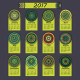 Calendar 2017. Vintage decorative colorful elements. Ornamental floral oriental pattern,  illustration. Islam, Arabic, Indian, turkish, pakistan chinese Royalty Free Stock Photo