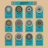 Calendar 2017. Vintage decorative colorful elements. Ornamental floral oriental pattern, vector illustration Royalty Free Stock Photos