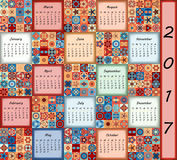 Calendar 2017. Vintage decorative colorful elements. Ornamental floral oriental pattern, vector illustration Stock Photo