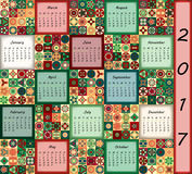Calendar 2017. Vintage decorative colorful elements. Ornamental floral oriental pattern, vector illustration. Islam, Arabic, Indian, turkish, pakistan chinese Stock Photos