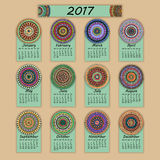 Calendar 2017. Vintage decorative colorful elements. Ornamental floral oriental pattern, vector illustration. Islam, Arabic, Indian, turkish, pakistan chinese Royalty Free Stock Photos