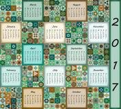 Calendar 2017. Vintage decorative colorful elements. Ornamental floral oriental pattern, vector illustration. Islam, Arabic, Indian, turkish, pakistan chinese Stock Photography
