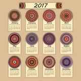 Calendar 2017. Vintage decorative colorful elements. Ornamental floral oriental pattern, vector illustration. Islam, Arabic, Indian, turkish, pakistan chinese Royalty Free Stock Photos
