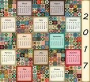 Calendar 2017. Vintage decorative colorful elements. Ornamental patchwork oriental pattern,  illustration. Royalty Free Stock Photo