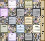 Calendar 2017. Vintage decorative colorful elements. Ornamental patchwork oriental pattern,  illustration. Islam, Arabic, Indian, turkish, pakistan chinese Royalty Free Stock Photos