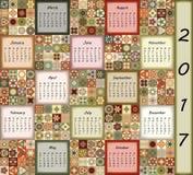 Calendar 2017. Vintage decorative colorful elements. Ornamental patchwork oriental pattern,  illustration. Islam, Arabic, Indian, turkish, pakistan chinese Royalty Free Stock Photo
