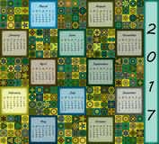Calendar 2017. Vintage decorative colorful elements. Ornamental patchwork oriental pattern,  illustration. Islam, Arabic, Indian, turkish, pakistan chinese Stock Images