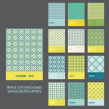 Calendar 2016. Vintage Decorative Elements. In vector Royalty Free Stock Image