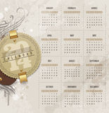 Calendar of 2014 with vintage labels Stock Image
