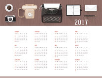 Calendar 2017. Vintage office and desktop top view, 2017 wall calendar Royalty Free Stock Images