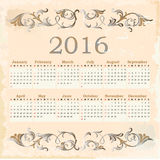 Calendar for 2016. Vintage style Royalty Free Illustration