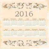 Calendar for 2016. Stock Photos