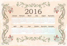 Calendar for 2016. Vintage style Stock Illustration