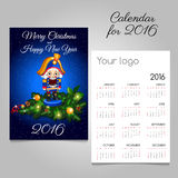 Calendar for 2016 with vintage toy soldier in blue. Vector calendar for 2016 with vintage toy soldier in blue Stock Photos