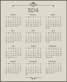 Calendar 2014. Vintage calendar 2014 (week starts on Sunday Royalty Free Stock Photo