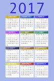 Calendar for 2017. On violet background vertical Stock Photography