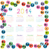 2014 calendar with vitamins and minerals for drugstores and hosp. Itals Royalty Free Stock Photo