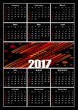 Calendar 2017, vitbokstäver på svart bakgrund, dekorativa abstrakt begreppmodeller i mitt Royaltyfri Foto