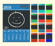 Calendar. Wall Calendar 2016 Template. Week starts Sunday, 12 months. Сonnect the dots. Vector illustration Royalty Free Stock Photography
