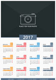 2017 Calendar. 2017 Wall calendar, week starts on Monday, A3 size, place for your photo Stock Images