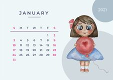 Calendar 2021 watercolor. Calendar for 2021, january 2021 template. Watercolor illustration - pretty girl with a balloon