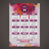 Calendar with watercolor paint 2015 Stock Images