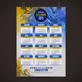 Calendar with watercolor paint 2015 design Royalty Free Stock Photo