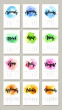Calendar with watercolor paint 2016 design. Vector. Illustration EPS 10 royalty free illustration