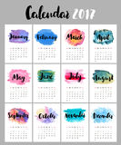 Calendar 2017 with watercolor stains. Beautiful template with hand drawn month's names and bright backdrops for each month Royalty Free Illustration