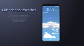 Calendar and Weather App With To Do List and Tasks UI UX Design For Mobile Phone stock illustration
