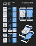 Calendar and Weather Mobile App Widgets UI Designs with Smartphone Mockups Royalty Free Stock Images