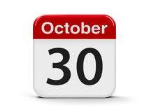 30th October. Calendar web button - The Thirtieth of October, three-dimensional rendering, 3D illustration Stock Photos