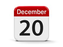 20th December. Calendar web button - The Twentieth of December - International Solidarity Day, three-dimensional rendering, 3D illustration Stock Photography